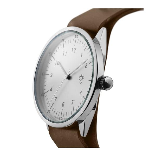 Zegarek z brązowym paskiem i cyferblatem w kolorze srebra CHPO Harold