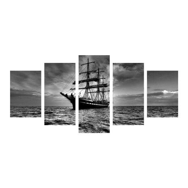 Wieloczęściowy obraz Black&White Ship, 100x50 cm