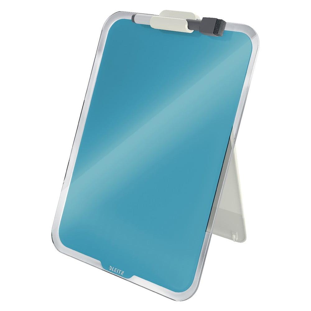 Niebieska szklana tabliczka na biurko Leitz Cosy, 22x30 cm