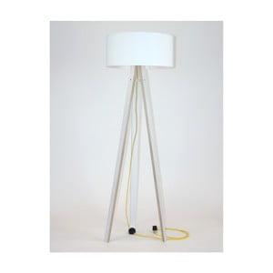 Biała lampa stojąca z białym abażurem i żółtym kablem Ragaba Wanda