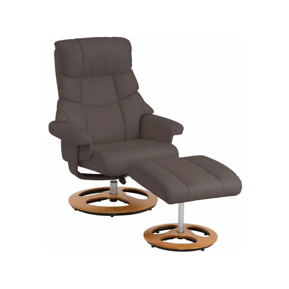 Ciemnobrązowy fotel skórzany z podnóżkiem Støraa Tony