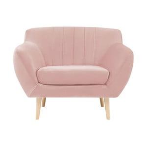 Jasnoróżowy fotel z jasnymi nogami Mazzini Sofas Sardaigne