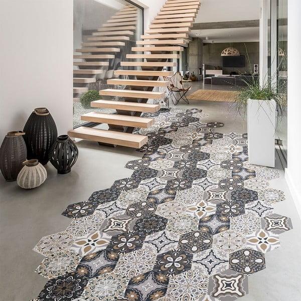 Komplet 10 wodoodpornych naklejek na podłogę Ambiance Fernando, 20x18 cm