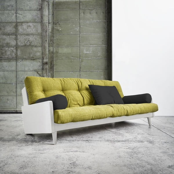 Sofa rozkładana Karup Indie White/Avocado Green/Dark Grey