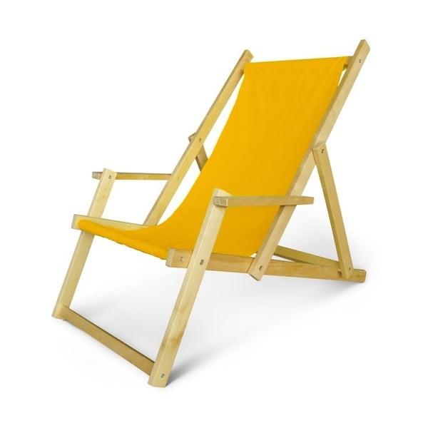Regulowany leżak drewniany z podłokietnikami JustRest, żółty