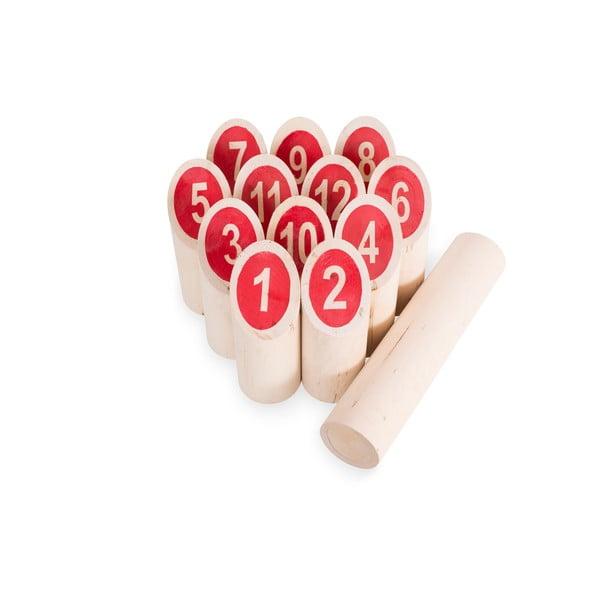 Gra ogrodowa dla całej rodziny Kubb z czerwonymi liczbami