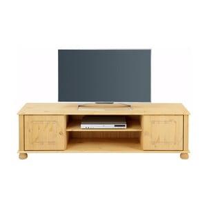 Brązowy stolik 2-drzwiowy pod TV z litej sosny Støraa Ella