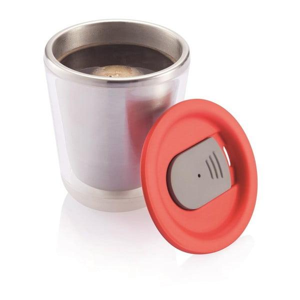 Biały kubek termiczny z czerwonym wieczkiem XD Design Dia
