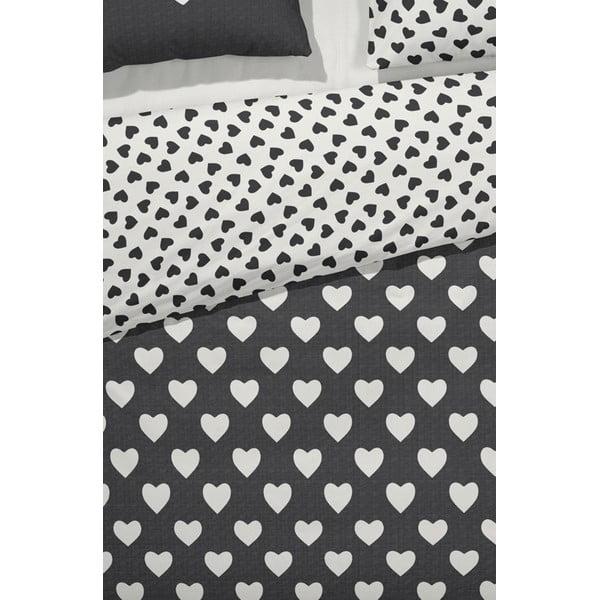 Pościel  Hearts 140x200 cm, czarna