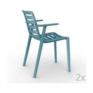 Zestaw 2 niebieskich krzeseł ogrodowych z podłokietnikami Resol Slatkat