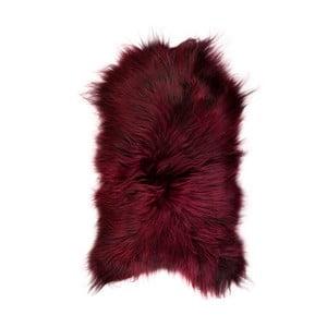 Czerwona skóra owcza z długim włosiem, 100x60 cm
