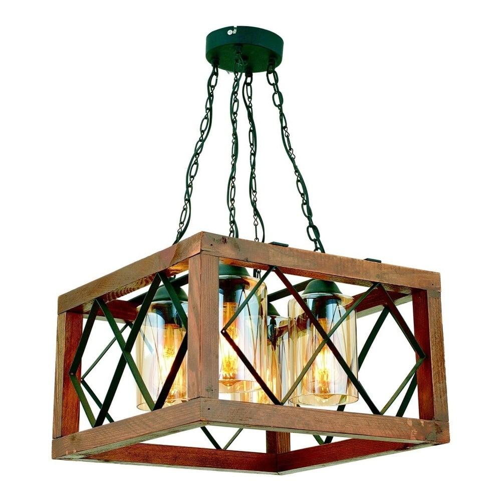Lampa wisząca z drewna grabu Zikzak Kare