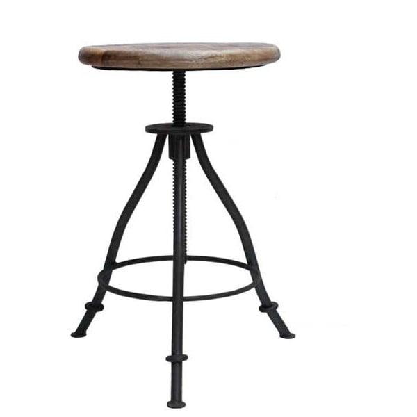 Czarny stołek z siedziskiem z drewna mango LABEL51 Jaipur