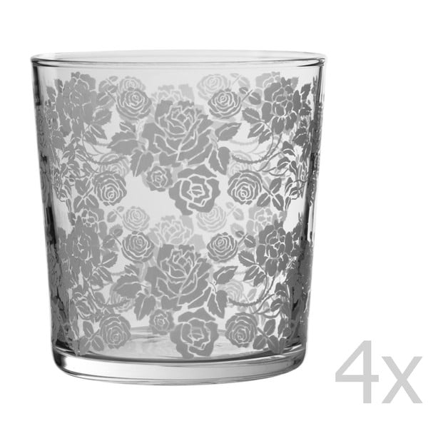 Zestaw 4 szklanek Roses, 370 ml