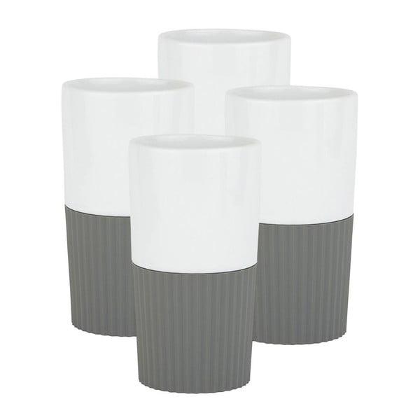 Komplet 4 porcelanowych kubków Confetti Grey