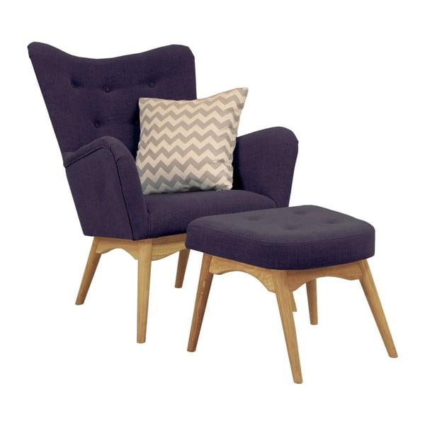 Fioletowy fotel z podnóżkiem Helga Interiors Karl