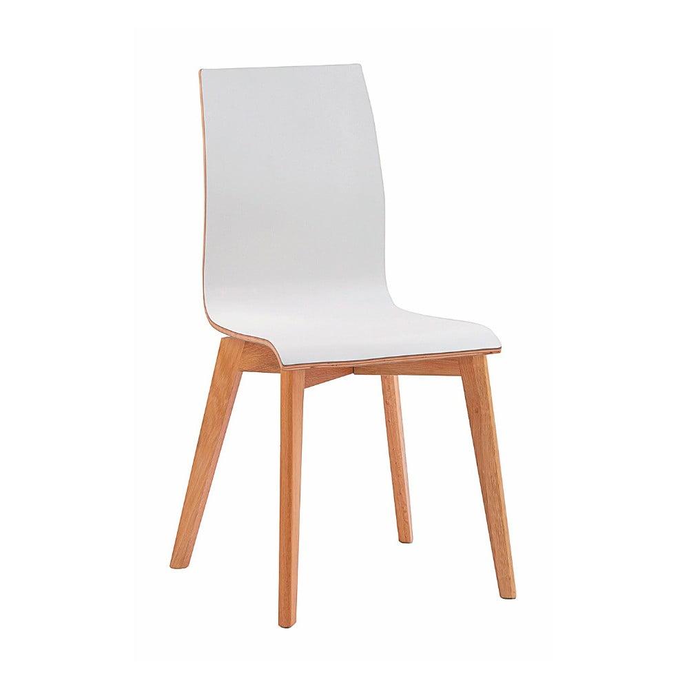 Białe krzesło do jadalni z brązowymi nogami Rowico Grace