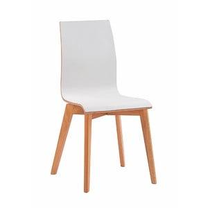 Białe krzesło do jadalni z brązowymi nogami Folke Grace