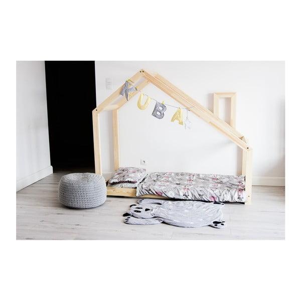 Drewniane łóżko jednoosobowe w kształcie domku Benlemi DENY 120x200 cm