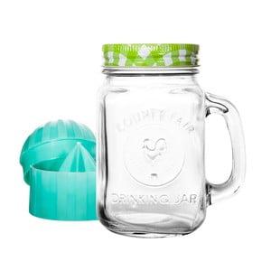 Szklanka z zieloną zakrętką i wyciskarką do cytrusów Mezzo Detox, 300 ml