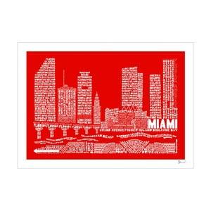 Plakat Miami Red&White, 50x70 cm