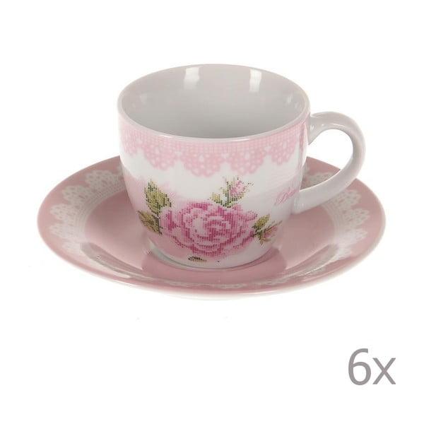 Komplet 6 filiżanek ze spodkami Pink Roses