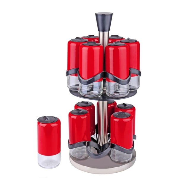 Zestaw 12 pojemników na przyprawy na obrotowym stojaku Lux Red