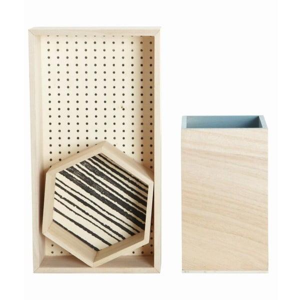 Komplet 3 drewnianych pojemników Office
