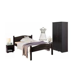 Komplet 3 ciemnobrązowych mebli do sypialni z drewna sosnowego Støraa Bangor