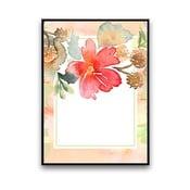 Plakat z kwiatem, biało-różowe tło, 30 x 40 cm