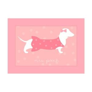 Różowy dywan do pokoju dziecięcego Pooch Mrs Pooch, 50x97cm