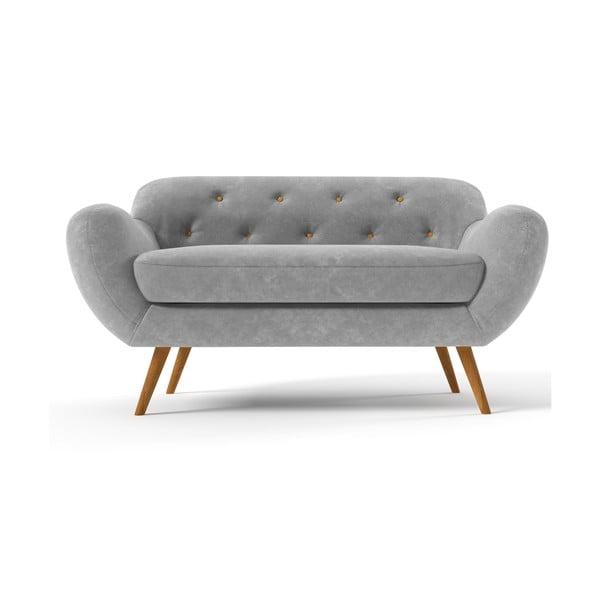 Szara   sofa dwuosobowa z żółtymi guzikami Wintech Zefir