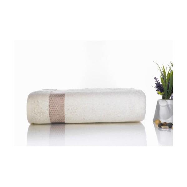 Brązowo-biały ręcznik kąpielowy z bawełny Ladik Alice, 70x140 cm
