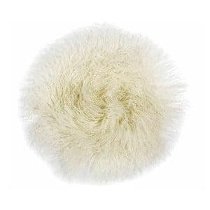 Biała futrzana poduszka do siedzenia Tibetan, 35x35cm