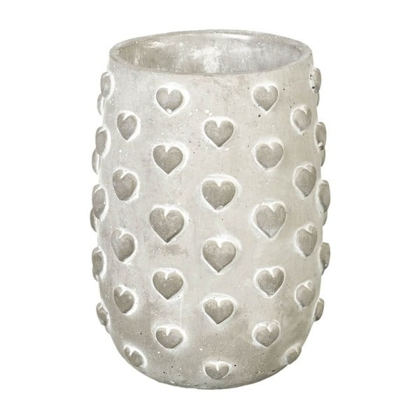 Doniczka Concrete Hearts, 19x13x13 cm