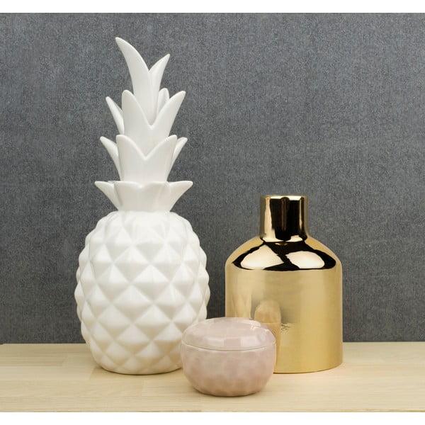 Biała dekoracja ceramiczna Pineapple