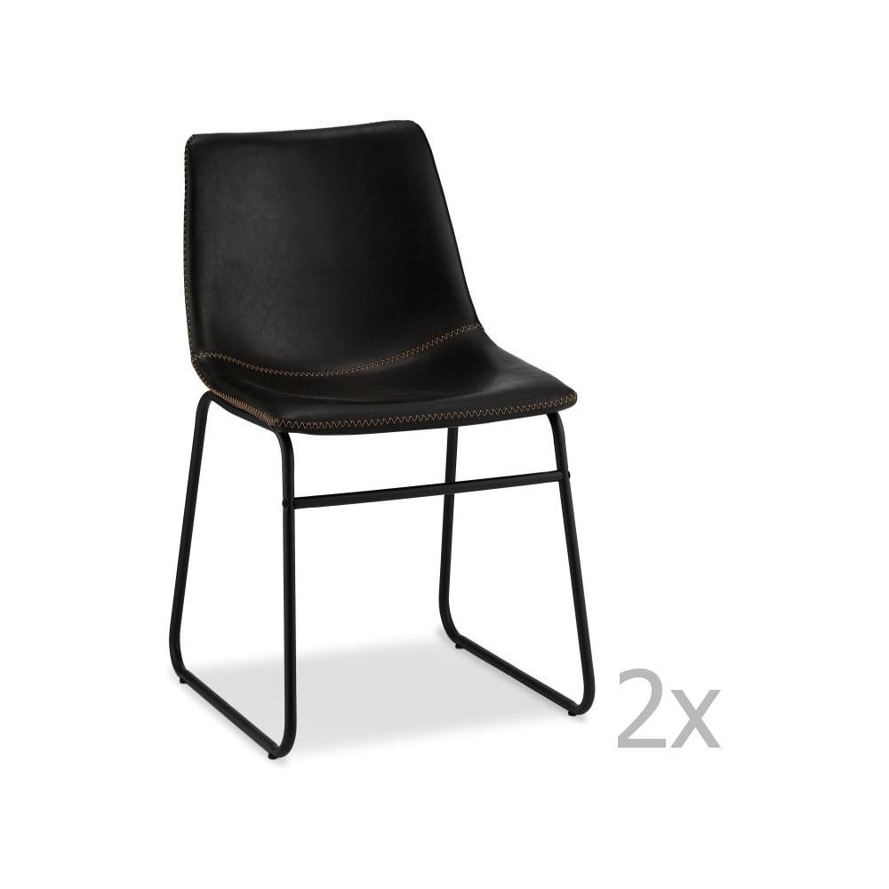 Zestaw 2 czarnych krzeseł Furnhouse Indiana
