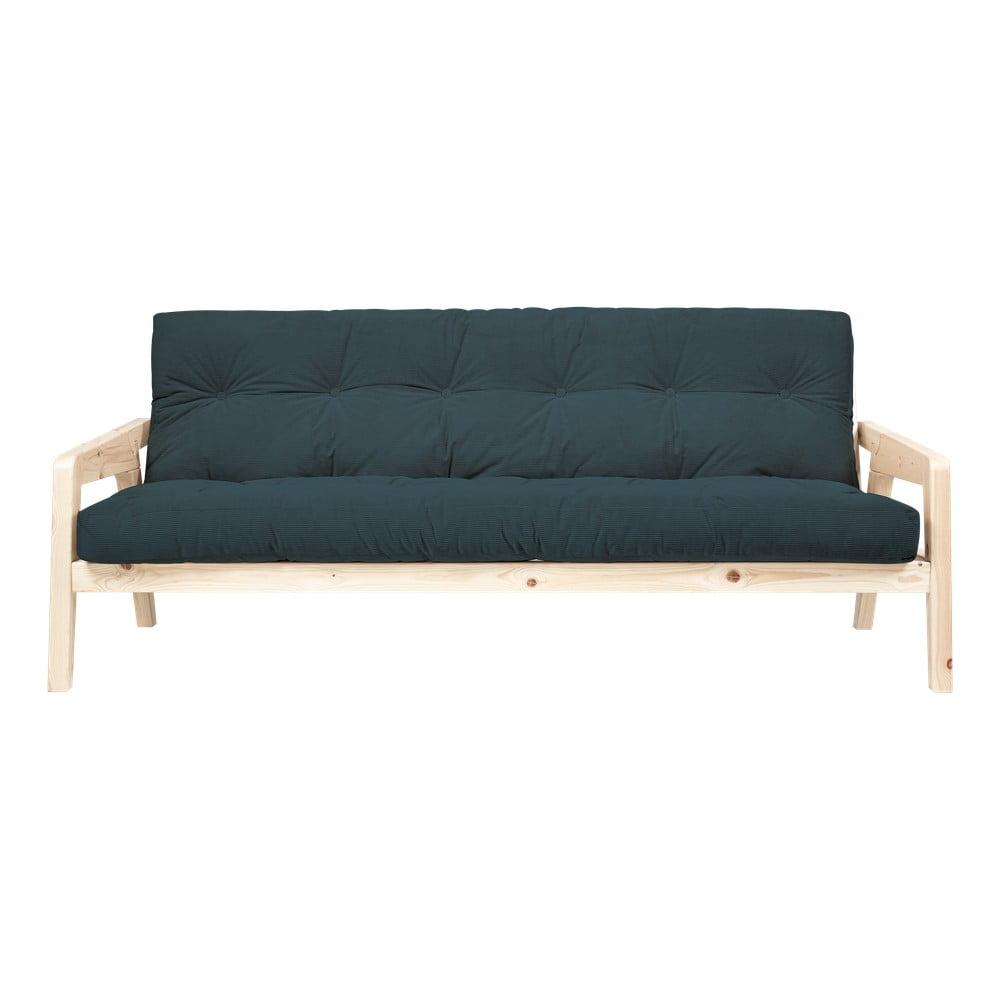 Ciemnozielona sofa rozkładana ze sztruksową tapicerką Karup Design Grab Raw/Pale Blue