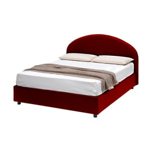 Czerwone łóżko dwusobowe ze schowkiem 13Casa Giotto, 160x190cm