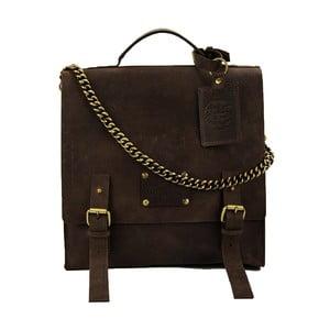 Skórzana torba vintage Frankie Fierce, ciemnobrązowa
