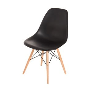 Czarne krzesło D2, drewniane nogi