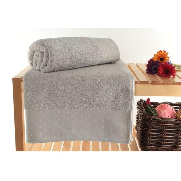 Zestaw 2 jasnoszarych ręczników Patricia Dusty, 90x150 cm