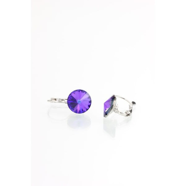 Fioletowe kolczyki z kryształami Swarovskiego Yasmine Longie