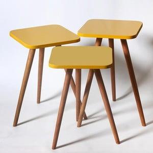 Zestaw 3 żółtych stolików Kate Louise Square