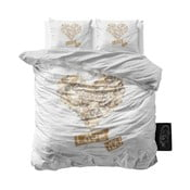 Dwuosobowa pościel z mikroperkalu Sleeptime Wood Love You, 200x220 cm