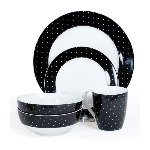 Zestaw porcelanowy Twinkle Black, 16 szt.