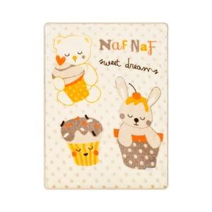 Koc dziecięcy z beżowymi detalami Naf Naf Sweet Dreams, 80x110 cm