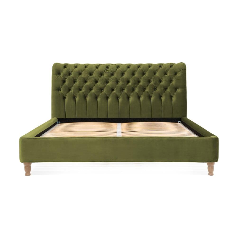 Oliwkowozielone łóżko z drewna bukowego Vivonita Allon, 180x200 cm