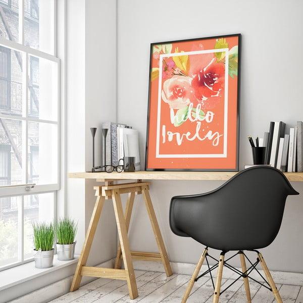 Plakat z kwiatami Hello Lovely, koralowe tło, 30 x 40 cm