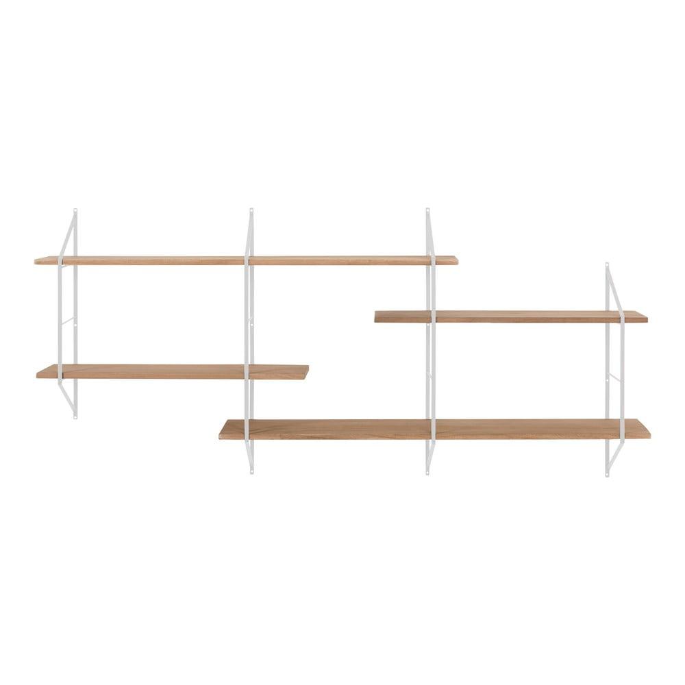 Regał ścienny z metalową konstrukcją i półkami z drewna paulowni Actona Belfast
